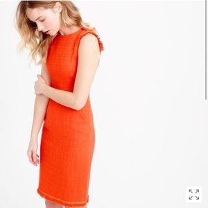 J. Crew Sheath Dress Textured Tweed Size 2 Orange